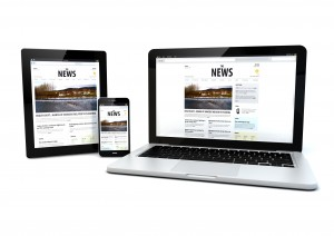 render of laptop, tablet pc and smartphone with a news page on the screen